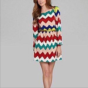 Gianni Bini Chevron Multicolored Dress Sz X Small